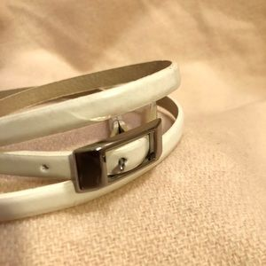Accessories - White leather skinny belt
